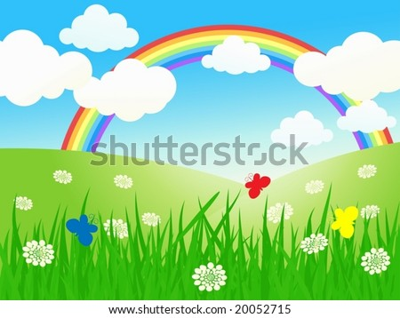 The beautiful summer landscape - vector illustration - stock vector
