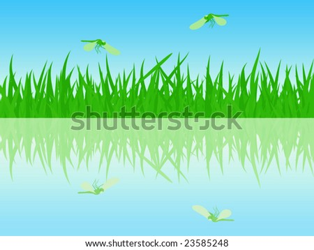 The beautiful summer waterside with dragonflies- vector illustration.