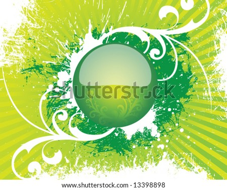 The beautiful vector round glass button on an old green background