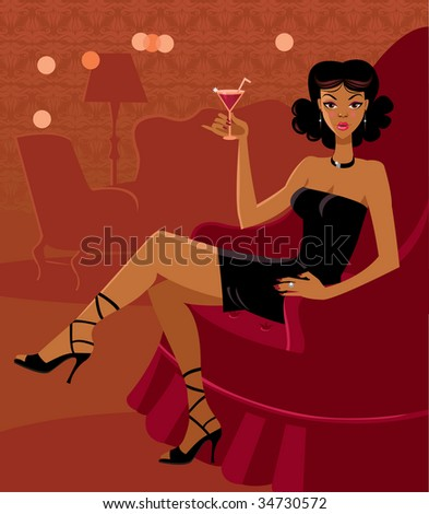 The beautiful woman in the room with a cocktail - stock vector