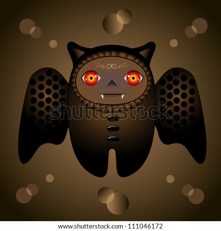 the beauty brown cartoon bat with red eyes - stock vector