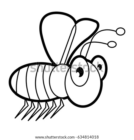 Bee Cartoon Bugs Life Coloring Page Stock Vector 634814018