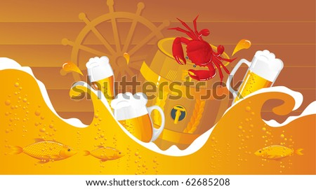 The beer sea with beer kegs, beer mugs and seafood in sea style - stock vector