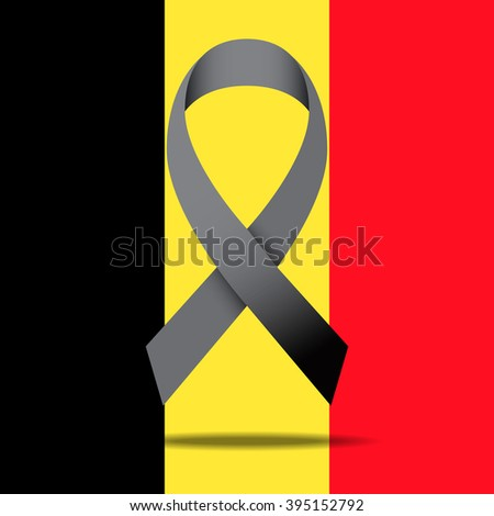 The Belgian flag and black ribbon for peace illustration, Vector eps10 - stock vector