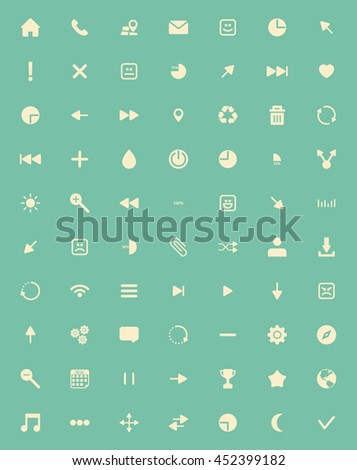 The best and most important icon set on green background - stock vector