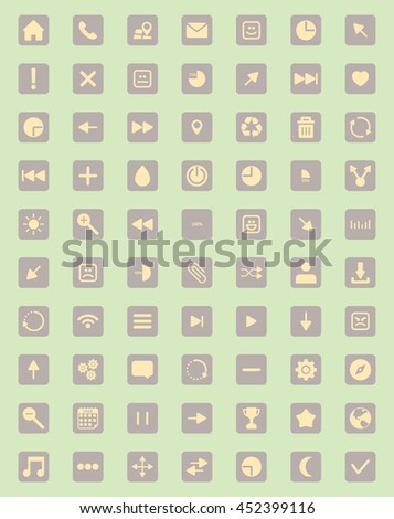 The best and most important icon set on light green background - stock vector