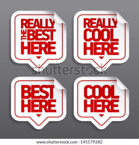 The best here speech bubble pointers - stock vector