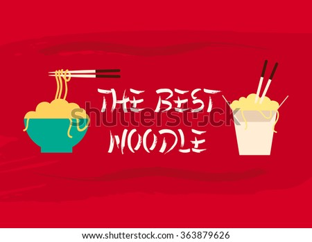 the best noodle bar sign logo with chinese noodle with chopsticks illustration icon symbol in flat design and grunge ink splash in the red background - stock vector