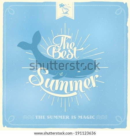 The Best Summer Vintage Poster. Vector Background. With Typography - stock vector