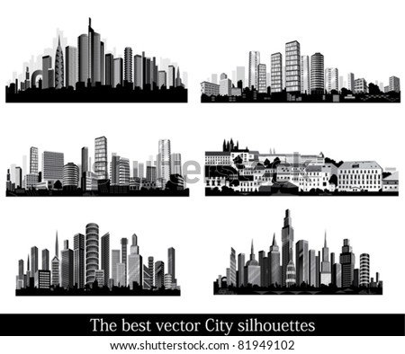 The best vector City silhouettes. Set. - stock vector