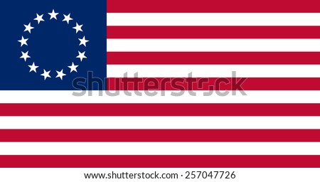 The Besty Ross Flag of the United States of America made to goverment specifications in both color and proportions - stock vector