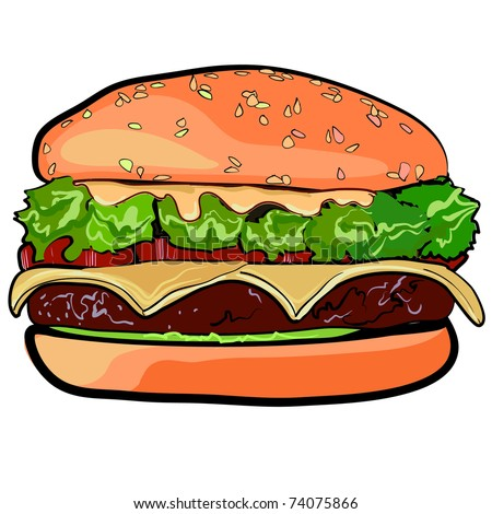 The big cheeseburger. High-calorie meal. Sandwich from fastfood. A sandwich with a stuffing. A burger with meat, with cheese and vegetables. - stock vector