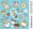 The big colorful set of dishes in the Victorian style for tea drink, some food and bubble with text in vector - stock photo