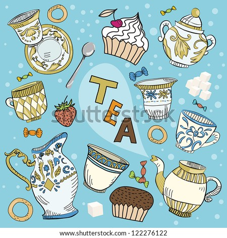 The big colorful set of dishes in the Victorian style for tea drink, some food and bubble with text in vector