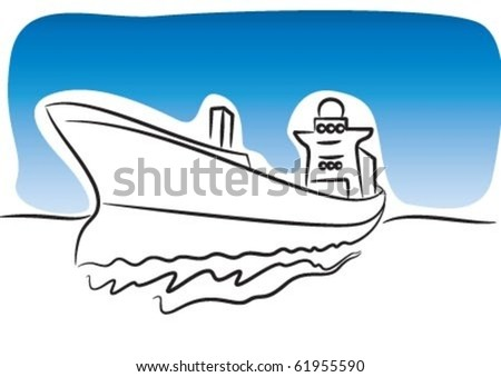 The big export ship on water - stock vector