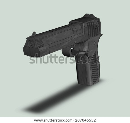 The big gun picture isolated on a grey background