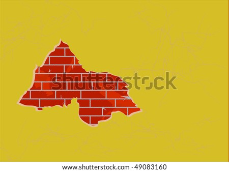 The big hole in a wall with a bricklaying - stock vector