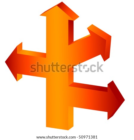 The big orange arrow-index with three lateral branches. It is isolated on a white background (vector) - stock vector