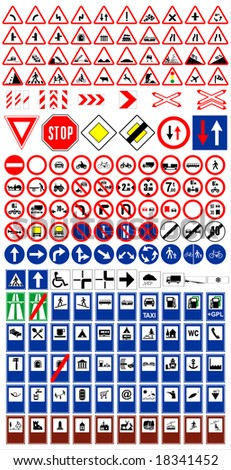 The big traffic sign collection vector - stock vector