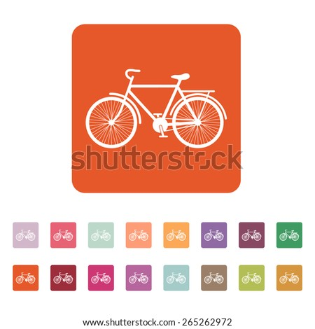 The bike icon. Bicycle symbol. Flat Vector illustration. Button Set - stock vector
