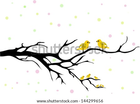 the bird family, yellow birds in a tree - stock vector