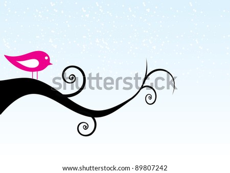 The bird sits on a tree. A vector illustration - stock vector