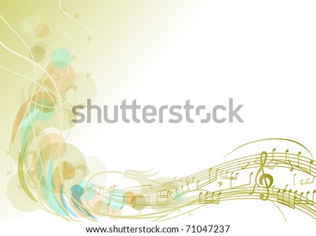 The birth of music. Spring track of notes and branches. - stock vector