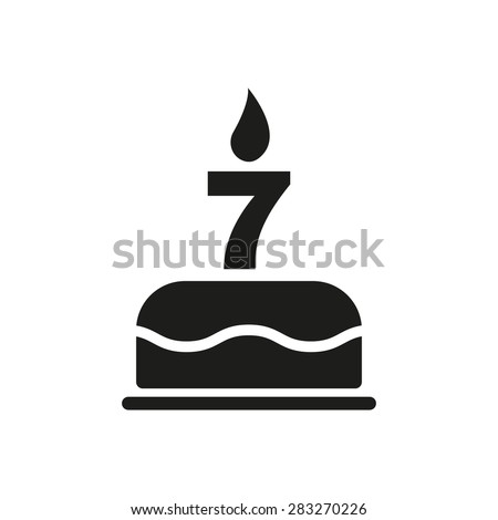 The birthday cake with candles in the form of number 7 icon. Birthday symbol. Flat Vector illustration - stock vector