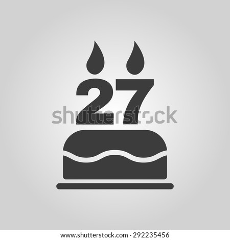 The birthday cake with candles in the form of number 27 icon. Birthday symbol. Flat Vector illustration - stock vector
