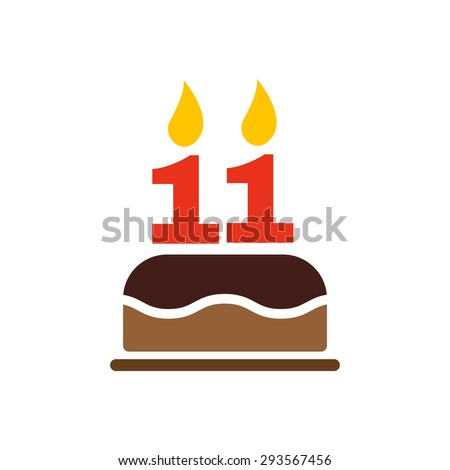 The birthday cake with candles in the form of number 11 icon. Birthday symbol. Flat Vector illustration - stock vector