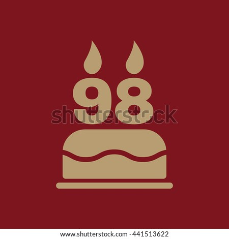 The birthday cake with candles in the form of number 98 icon. symbol. Flat Vector illustration - stock vector