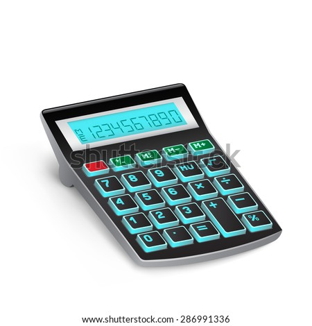 The black calculator on the white background - stock vector