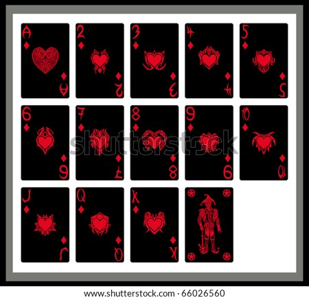 The black cards, hearts - stock vector