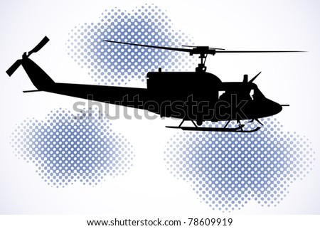The black military helicopter flies between clouds - stock vector