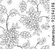 The black outline flower seamless - stock vector