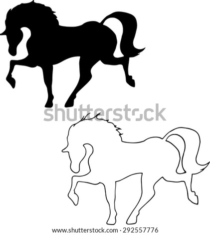 The black outline of a horse running trot. black and white image. Graphic drawing by hand. - stock vector