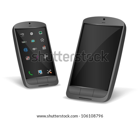 The black smartphone isolated on a white background - stock vector