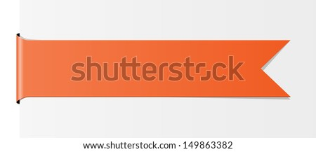 The blank orange label in the shape of ribbon with subtle texture / The orange ribbon / The ribbon - stock vector