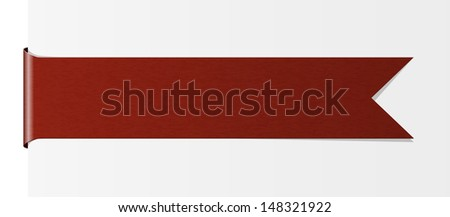 The blank red label in the shape of ribbon / The red ribbon / The ribbon - stock vector