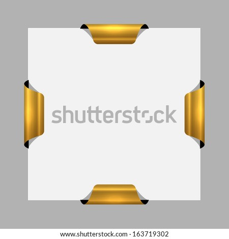 The blank square template with four blank glossy tags /The template with four metal tags / The four tag template - stock vector