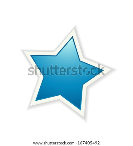 The blue star icon graphic element / The glossy star / The star   - stock vector