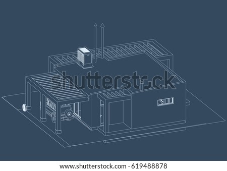Blueprint architectural design halftimbered residential house stock the blueprint of architectural design of half timbered residential house with the terrace and indoor malvernweather Images