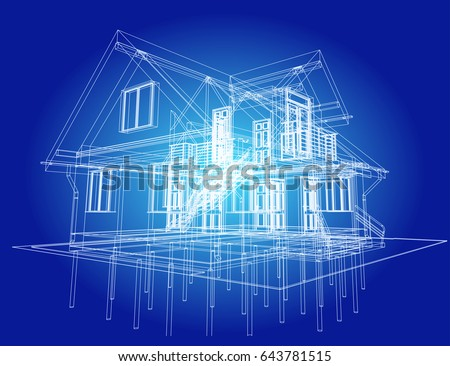 Attractive The Blueprint Of Architectural Design Of Half Timbered Residential House  With The Terrace. Vector