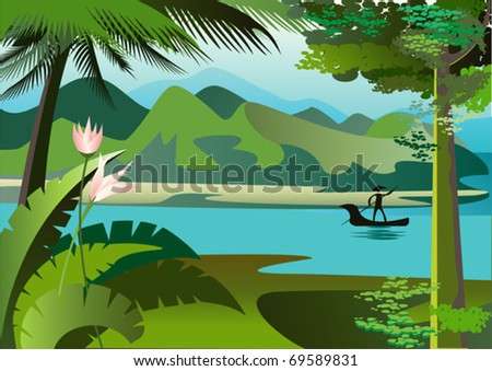 The boat floats  on the wide river - stock vector