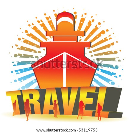 The Boat Travel Illustration - stock vector