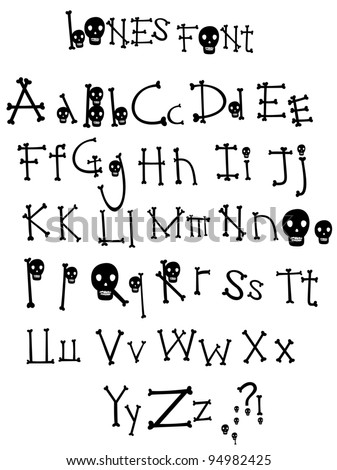 The Bones alphabet from my big font collection - stock vector