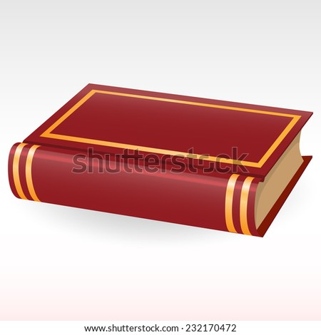 The book in brown hardcover - stock vector