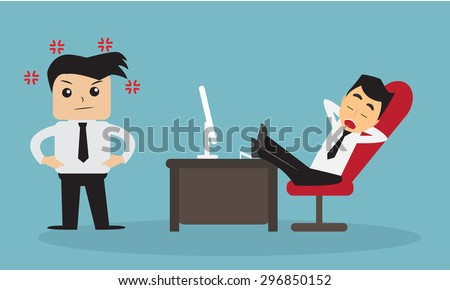 The boss angry employee is sleep vector.  - stock vector