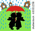 The boy and girl are kissed under a red umbrella - stock vector