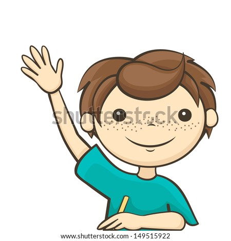 the boy answers the question, a student raised his hand - stock vector